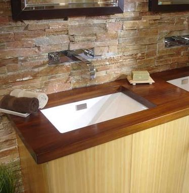 Custom Made Contemporary Teak Vanity Countertop