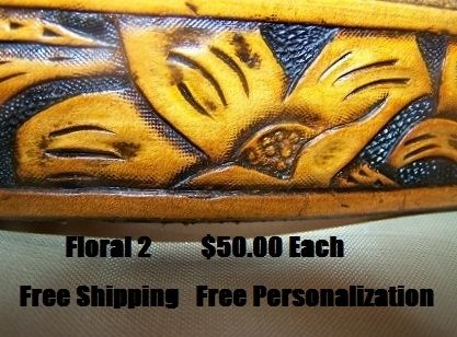 "Custom Made Hand Tooled Leather Belt. 1-1/4"" With  ""Stephanie"" Design"