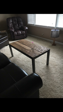 Custom Made Custom Made Coffee Tables, Powder Coated Metal Frame, With Barn Wood Top