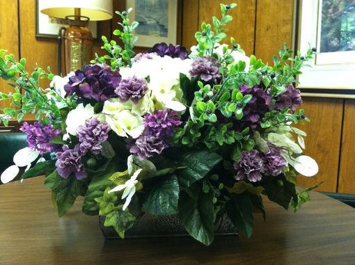 Custom Made Metal Containers With Floral Arrangements