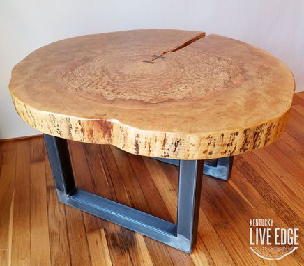 Custom Made Round Coffee Table- Live Edge- Industrial- Tree Slice- Log- Rustic- Side Table- End- Maple