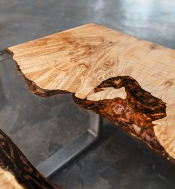 Custom Made Figured Maple Epoxy River Coffee Table With Waterfall Leg