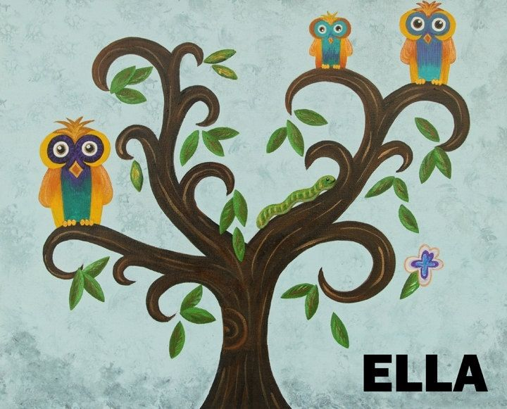 Hand Crafted Owls In A Tree Nursery Wall Art / Kids Room Art ...