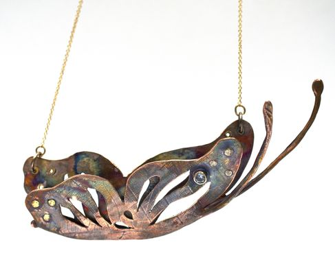 Custom Made Butterfly, Metamorphasis Necklace With Copper, 14k Gold, And Aquamarine