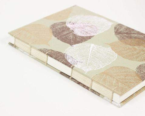 Custom Made Pretty Sketchbook Journal In Beige With Gold Leaves