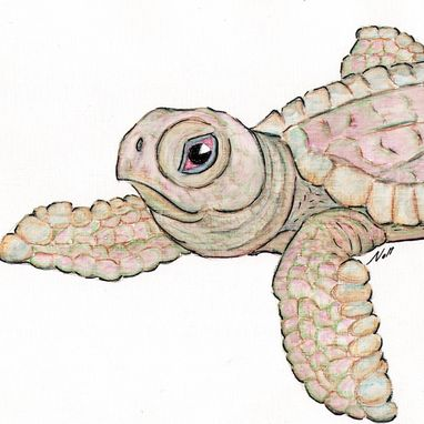 Custom Made Art Print With Original Young Sea Turtle Watercolor Painting