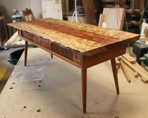 Custom Made Live Edge Midcentury Modern Coffee Table