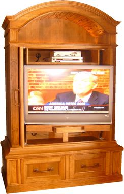 Custom Made Hickory Coved Door Video Cabinet With Automatic Pocket Doors