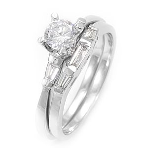 Custom Made Baguette Diamond 14k Wedding Set, Ring And Band With Cubic Zirconia Center Stone