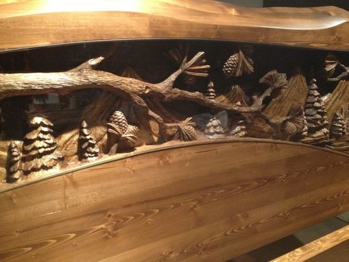 Custom Made King Size Headboard & Footboard, Waterfall & Pine Forest Scene, Hand Carved By Scott