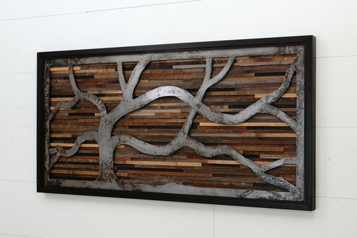 Custom Made Reclaimed Wood Wall Art Made Of Old Barnwood And Rustic Steel 48