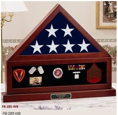 Custom Made Combination Flag Display Case Shadow Box, Flag Medal Pedestal