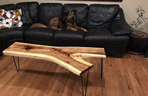 Custom Made Mid Century Modern Live Edge Hickory Coffee Table Or Bench