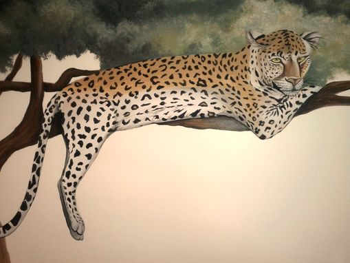 Custom Made Leopard In Tree Nursery Mural