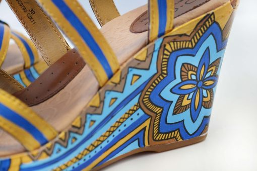 Custom Made Hand Painted Shoes - Summer Shoes- Flower Wedges
