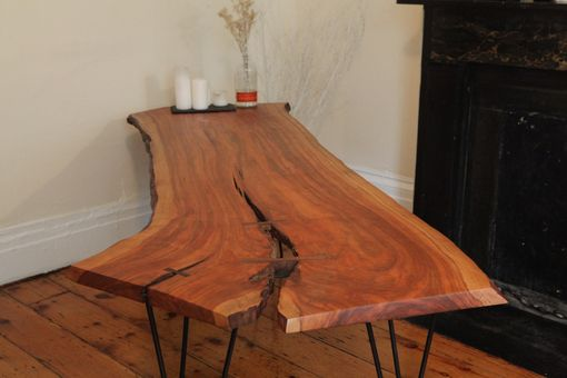 Custom Made 8' Live Edge Cherry Slab With Custom Iron Legs