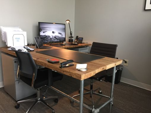 Custom Made Reclaimed Barnwood L-Shaped Desk