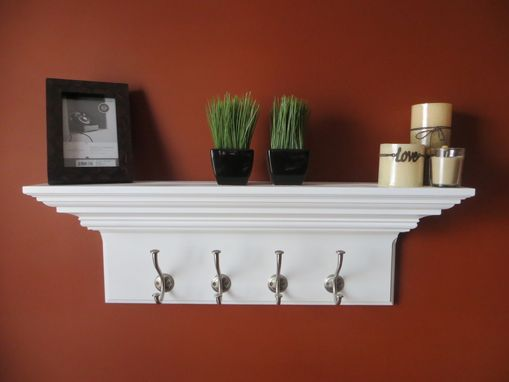 "Custom Made 30"" Crown Molding Floating Wall Shelve With 4 Large Satin Nickel Hooks"