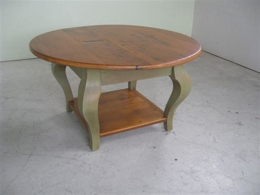Custom Made Small Round Coffee Table With Shelf