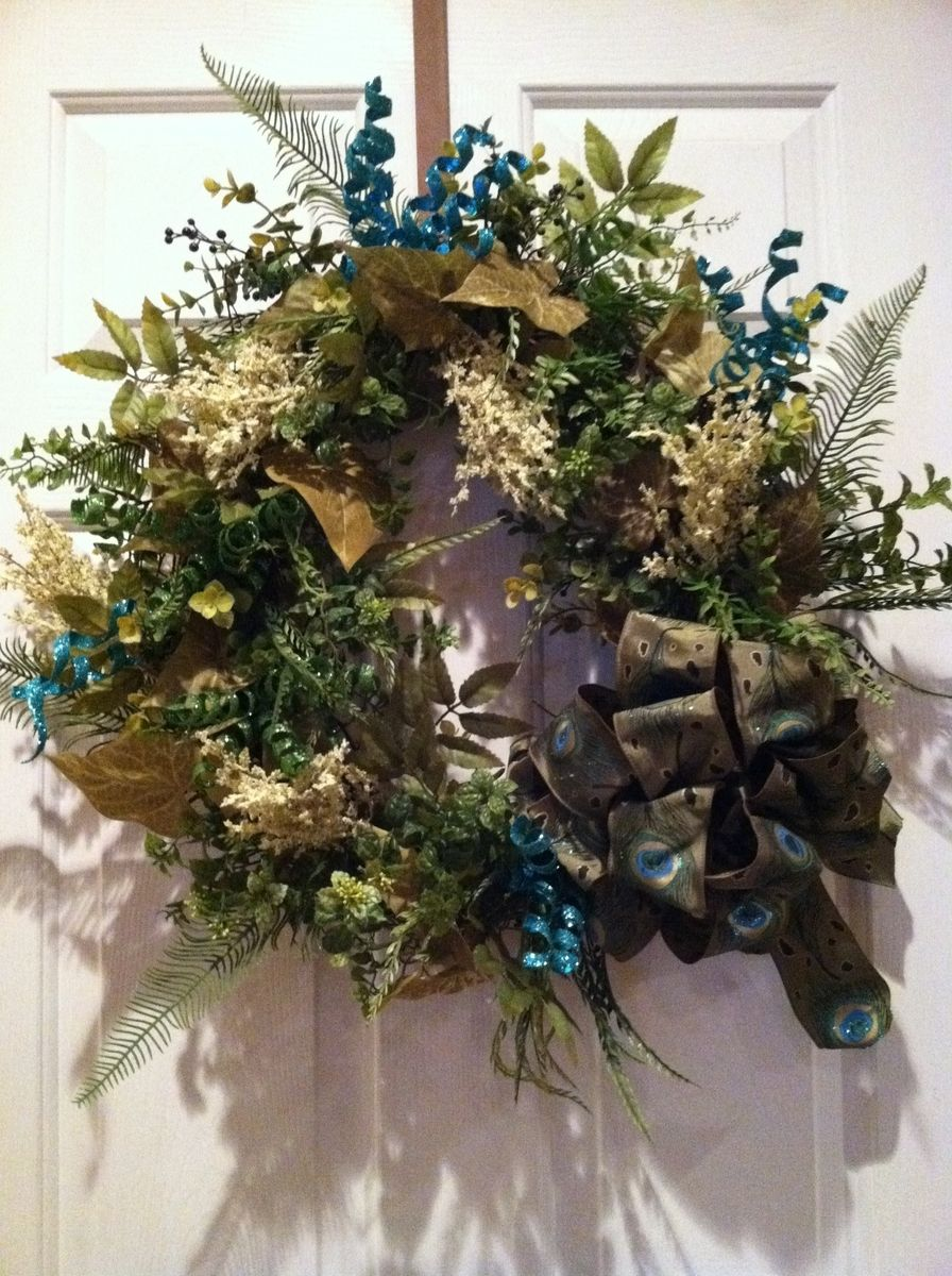 Hand Crafted Peacock Ribbon Grapevine Wreath By Design