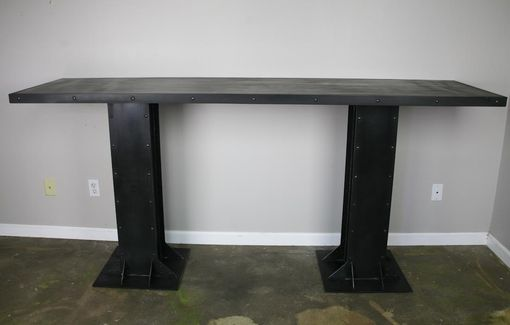 Custom Made Vintage/Modern Industrial Table Steel Or Reclaimed Wood Top Great For Restaurant Lounge Hotel Bar