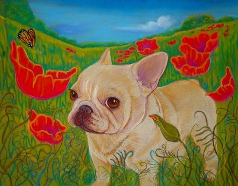 "Custom Made Custom French Bulldog Portrait 9 X 12 Matted In  12 X 16"" Mat"