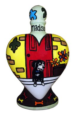 Custom Made Sittin' Proud Dog Heart Vase Urn