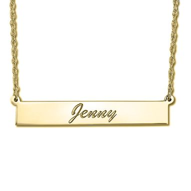 Custom Made Women's Personalized Engraved Name Necklace Bar Pendant