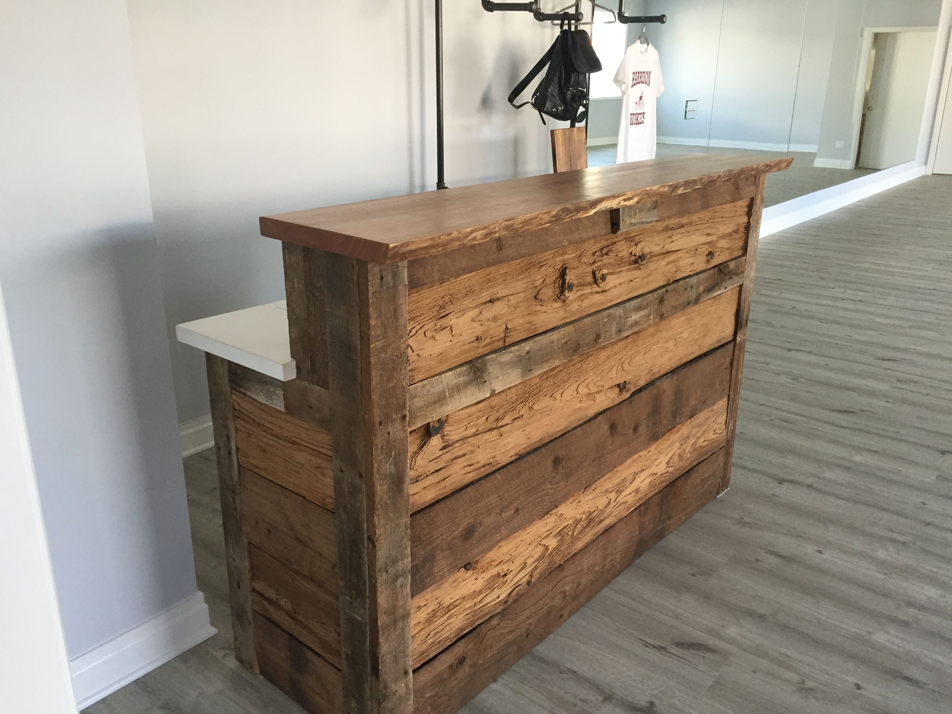 Hand Made Reclaimed Barnwood Reception Desk By M Karl Llc