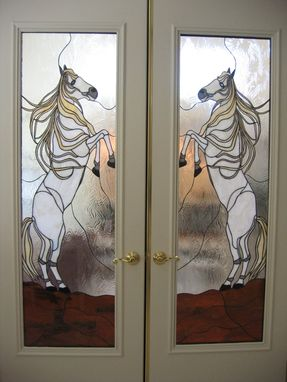 "Custom Made ""Wildhorses"" Stained Glass French Door Panels"