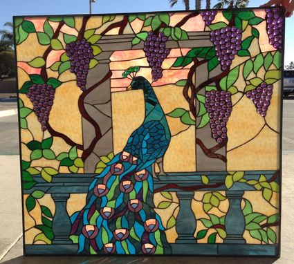 Custom Made Peacock & Jewels Stained Glass Window