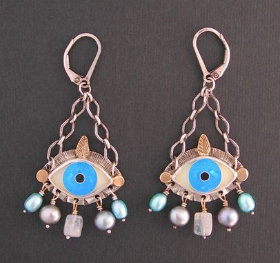 Custom Made Evil Eye Earrings - Ice Blue