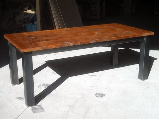 Hand Crafted Salvaged Fir Farm Table With Metal Legs By
