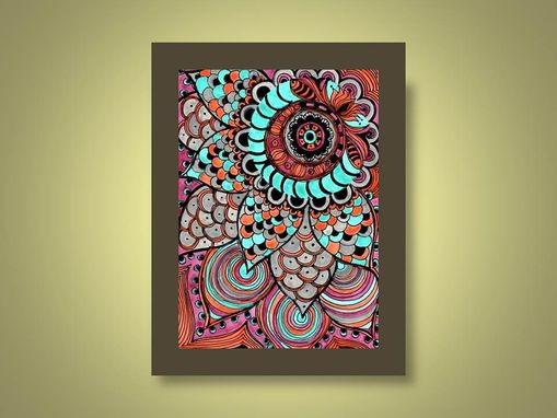 Custom Made Sun Fine Art Print- Orange Magenta Blue Flower Ink And Acrylic