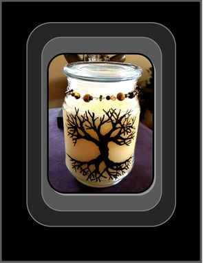 Custom Made Tree Of Life,Vanilla,Candle,Hand Painted,One Of A Kind