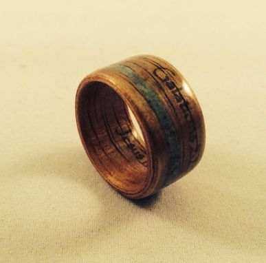 Custom Made Engraved Bentwood Ring With Stone Inlay