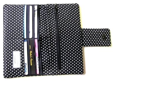 Custom Made Handmade Women Wallet Classic Black Small White Dots