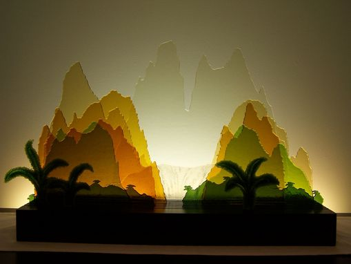 Custom Made Glass Sculpture - Yellow Mountains Of China