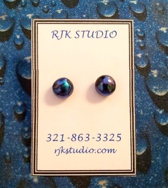 Custom Made Dichroic Glass Stud Earrings