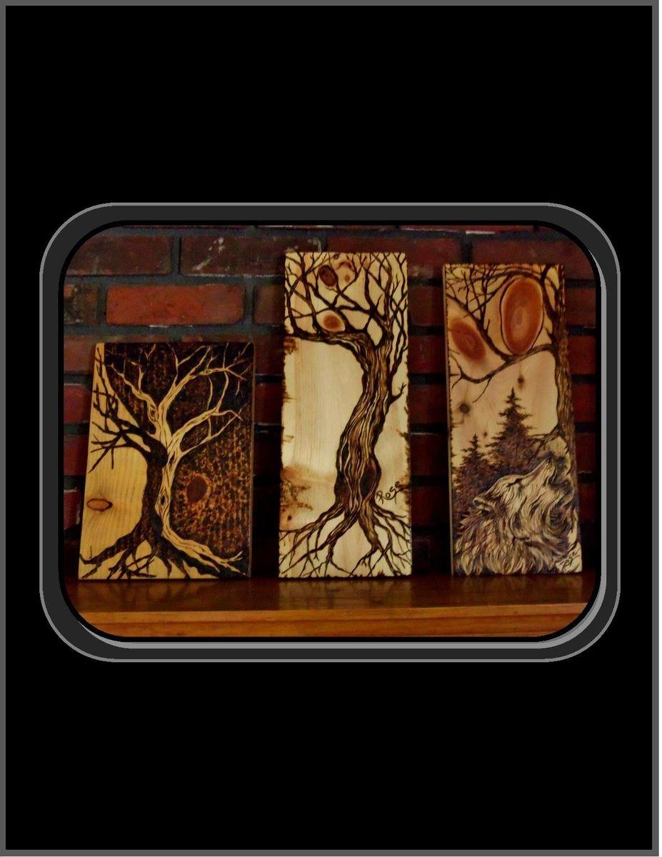 Custom Made Wolf Art Wood Burned Art Howling Wolf