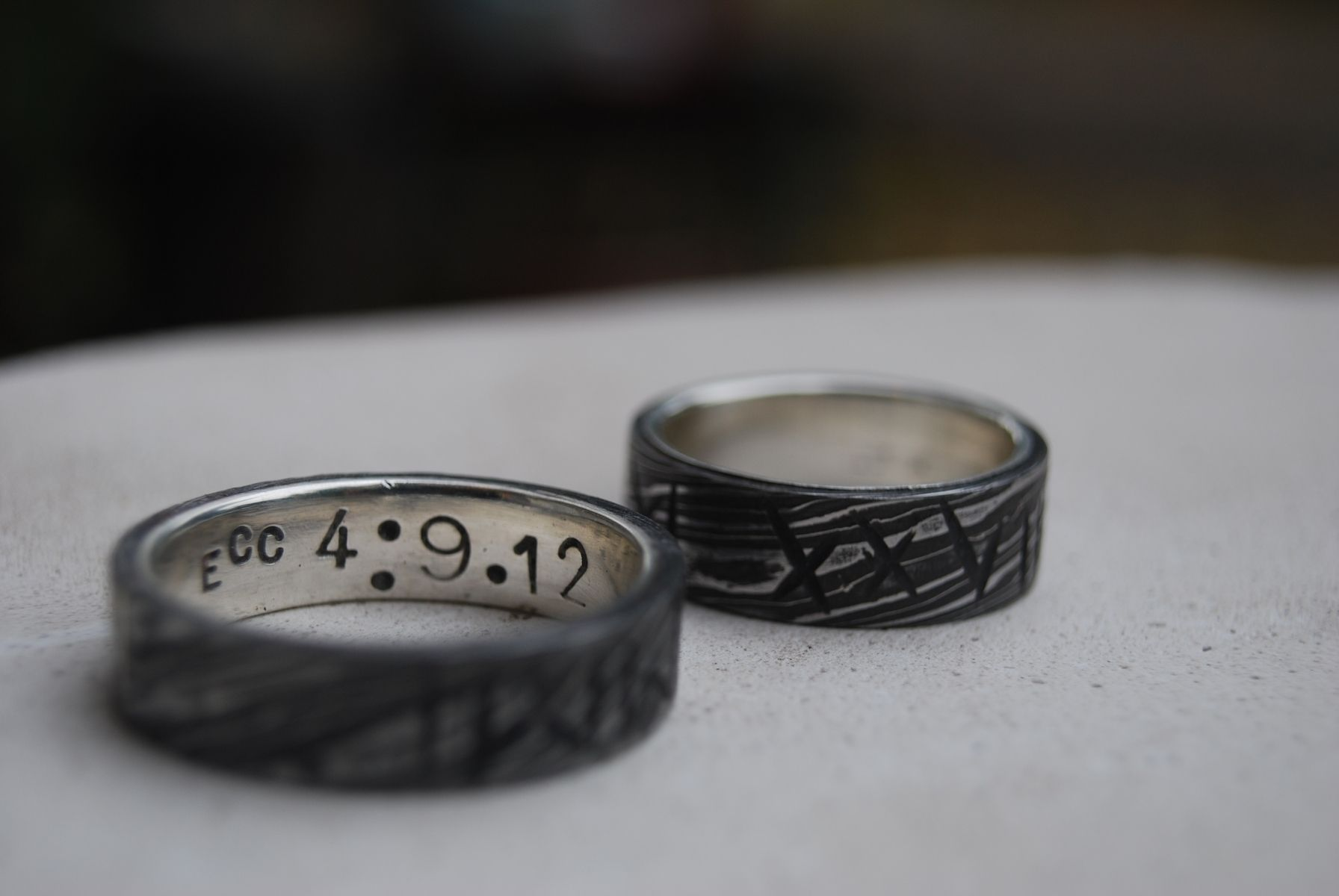 Handmade Wedding Bands Roman Numerals Anniversary Rings By