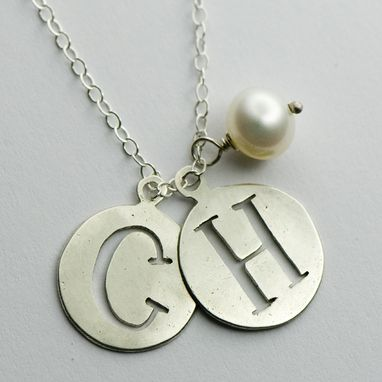 Custom Made Silver Initial And Birthstone Necklace
