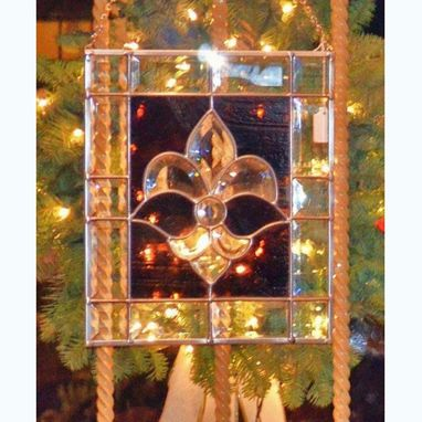 Custom Made Fleur De Lis Beveled Glass Panel