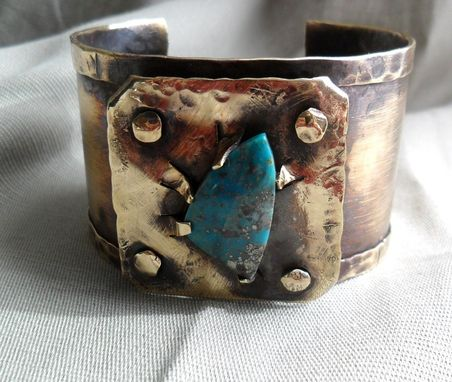 Custom Made Riveted Brass Cuff With Turquoise Stone