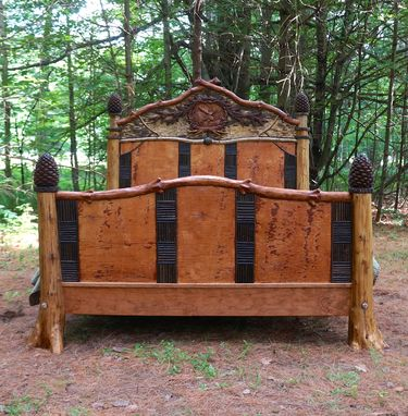 Custom Made Rustic Carved Bed
