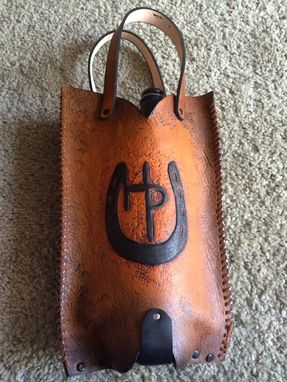 Custom Made Western Boot Leather Wine Or Beverage Tote.