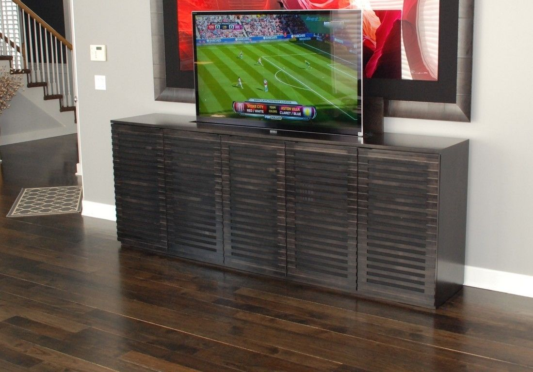custom tv lift modern cabinet by belak woodworking llc. Black Bedroom Furniture Sets. Home Design Ideas