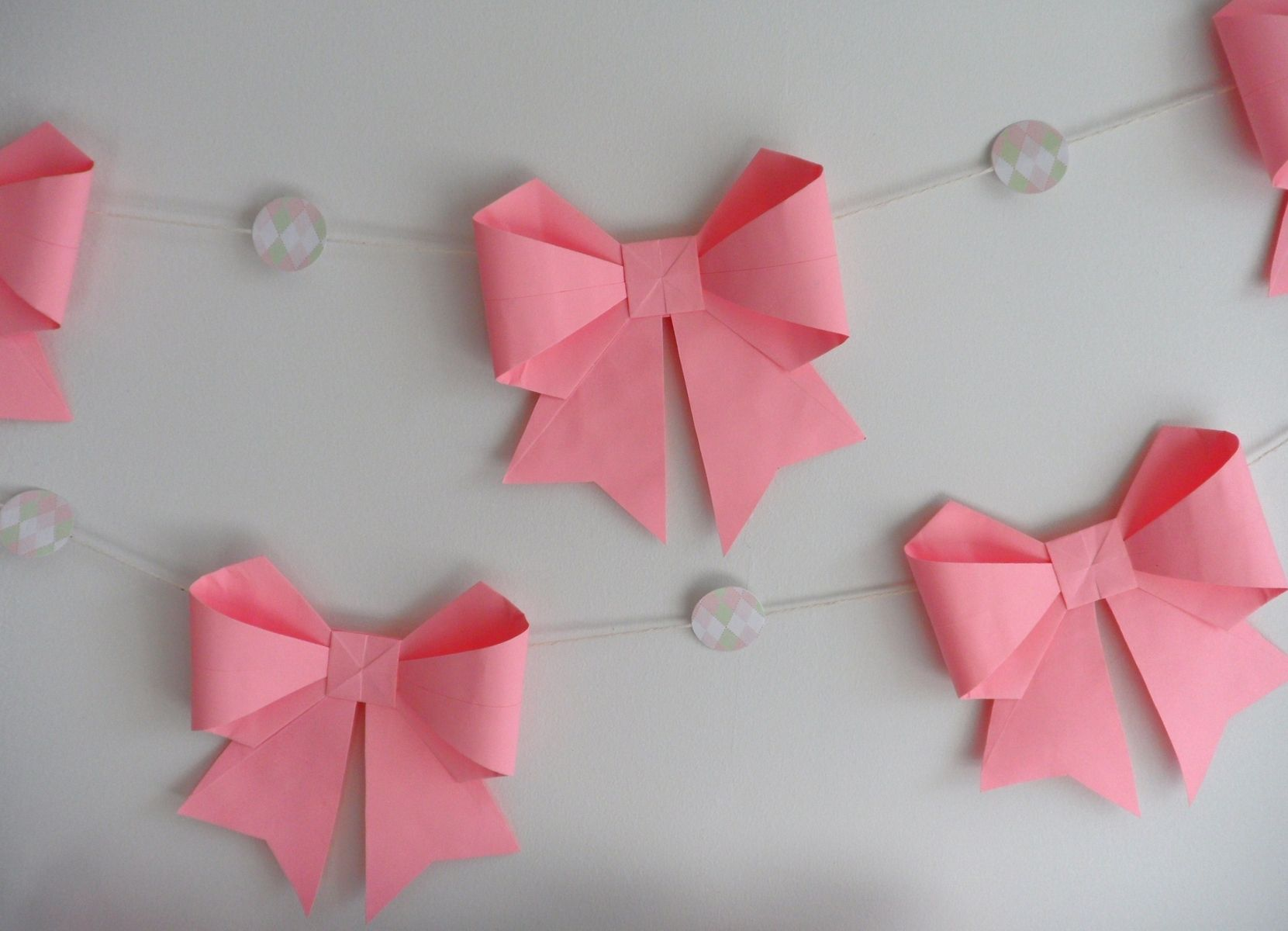 Custom Made 10 Ft Pink Paper Origami Bows Garland by Dear Betsy ...
