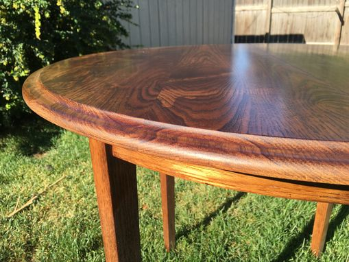 Custom Made Round Extending Hickory Dining Table.