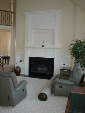 Custom Made Built In Fireplace Mantle For Flat-Screen Tv, Side Cabinets